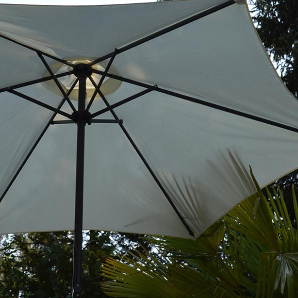 Hier sehen Sie einen Sonderbau-Sonnenschirm aus der Nähe.